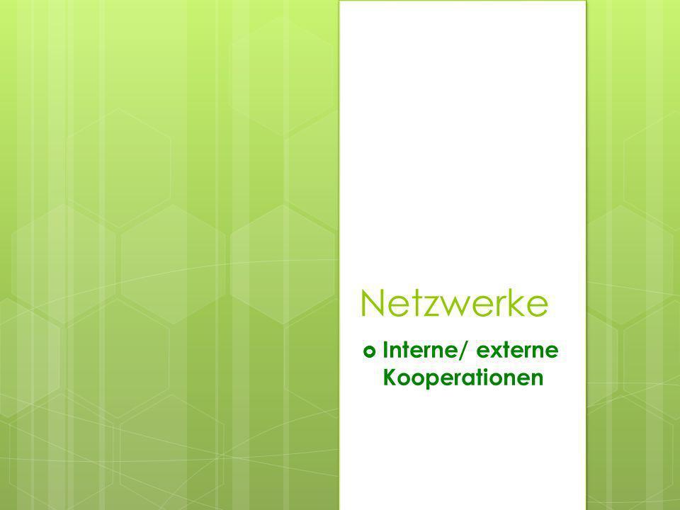Netzwerke Interne/ externe Kooperationen