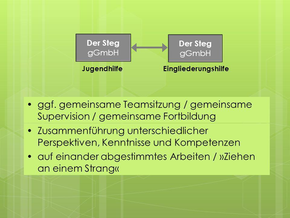 ggf. gemeinsame Teamsitzung / gemeinsame Supervision / gemeinsame Fortbildung Der Steg gGmbH Der Steg gGmbH JugendhilfeEingliederungshilfe Zusammenfüh