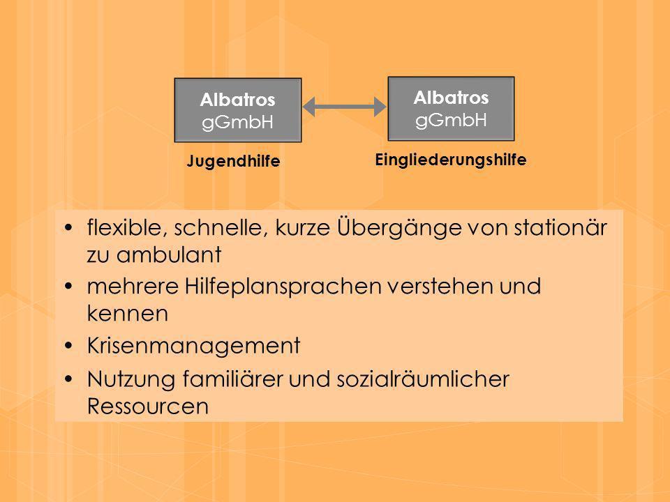 flexible, schnelle, kurze Übergänge von stationär zu ambulant Albatros gGmbH Albatros gGmbH Jugendhilfe Eingliederungshilfe mehrere Hilfeplansprachen