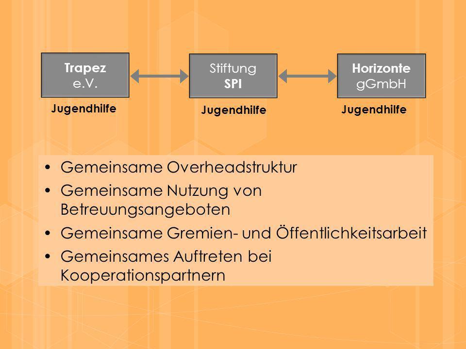 Gemeinsame Overheadstruktur Trapez e.V. Stiftung SPI Horizonte gGmbH Jugendhilfe Gemeinsame Nutzung von Betreuungsangeboten Gemeinsame Gremien- und Öf