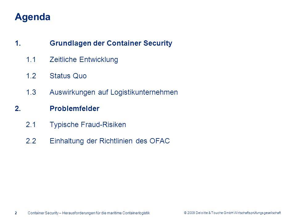 © 2009 Deloitte & Touche GmbH Wirtschaftsprüfungsgesellschaft Agenda 1.Grundlagen der Container Security 1.1Zeitliche Entwicklung 1.2Status Quo 1.3Aus