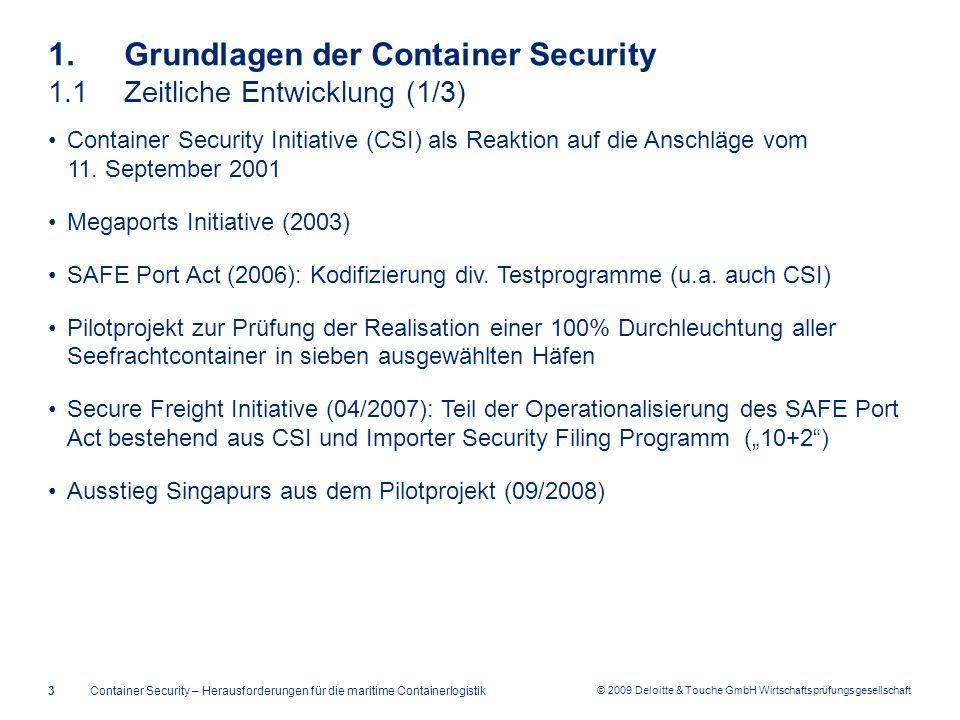 © 2009 Deloitte & Touche GmbH Wirtschaftsprüfungsgesellschaft 1. Grundlagen der Container Security 1.1Zeitliche Entwicklung (1/3) Container Security I