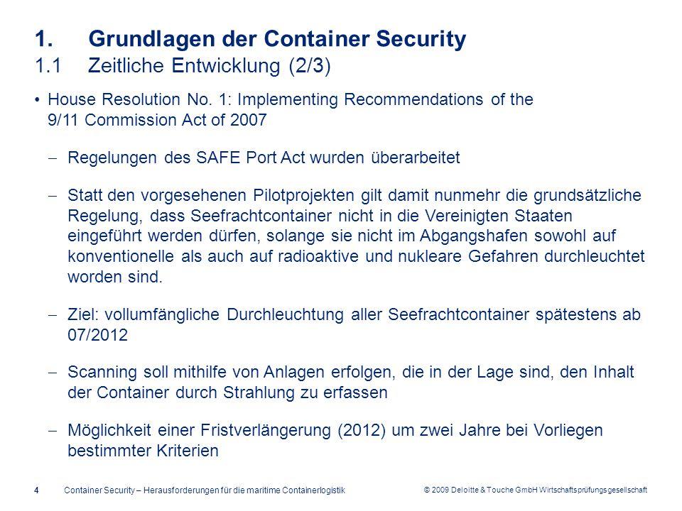 © 2009 Deloitte & Touche GmbH Wirtschaftsprüfungsgesellschaft 1. Grundlagen der Container Security 1.1Zeitliche Entwicklung (2/3) House Resolution No.