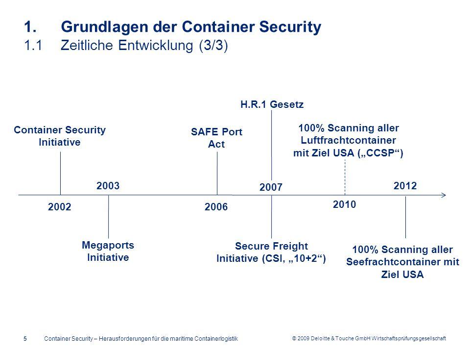© 2009 Deloitte & Touche GmbH Wirtschaftsprüfungsgesellschaft 1. Grundlagen der Container Security 1.1Zeitliche Entwicklung (3/3) Container Security –