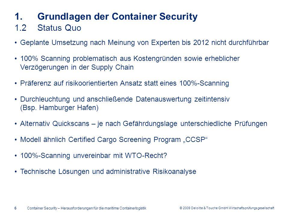 © 2009 Deloitte & Touche GmbH Wirtschaftsprüfungsgesellschaft 1. Grundlagen der Container Security 1.2Status Quo Geplante Umsetzung nach Meinung von E