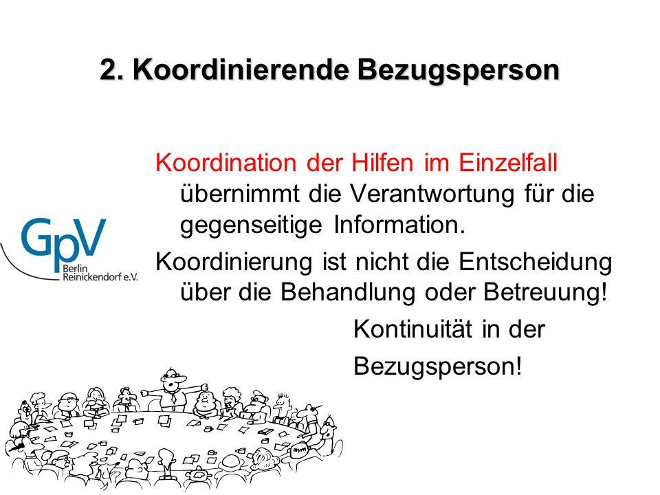 2. Koordinierende Bezugsperson Koordination der Hilfen im Einzelfall übernimmt die Verantwortung für die gegenseitige Information. Koordinierung ist n
