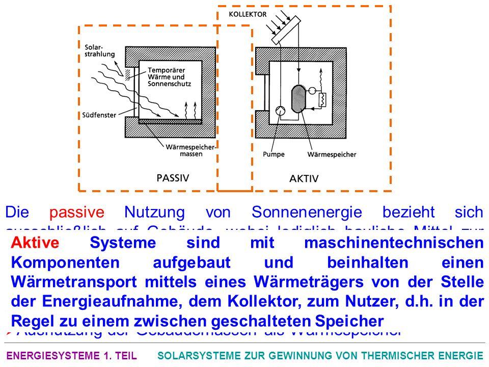 ENERGIESYSTEME 1. TEILSOLARSYSTEME ZUR GEWINNUNG VON THERMISCHER ENERGIE Die passive Nutzung von Sonnenenergie bezieht sich ausschließlich auf Gebäude