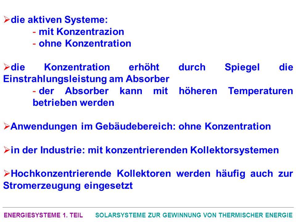 ENERGIESYSTEME 1. TEILSOLARSYSTEME ZUR GEWINNUNG VON THERMISCHER ENERGIE die aktiven Systeme: - mit Konzentrazion - ohne Konzentration die Konzentrati