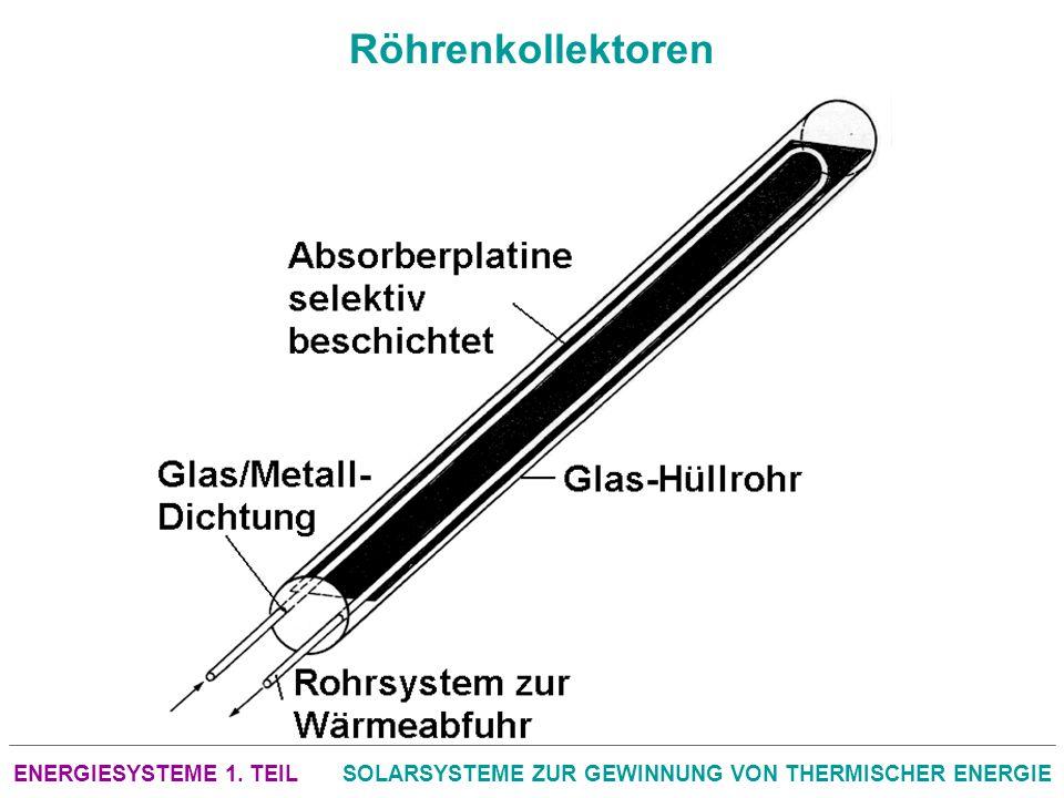 ENERGIESYSTEME 1. TEILSOLARSYSTEME ZUR GEWINNUNG VON THERMISCHER ENERGIE Röhrenkollektoren
