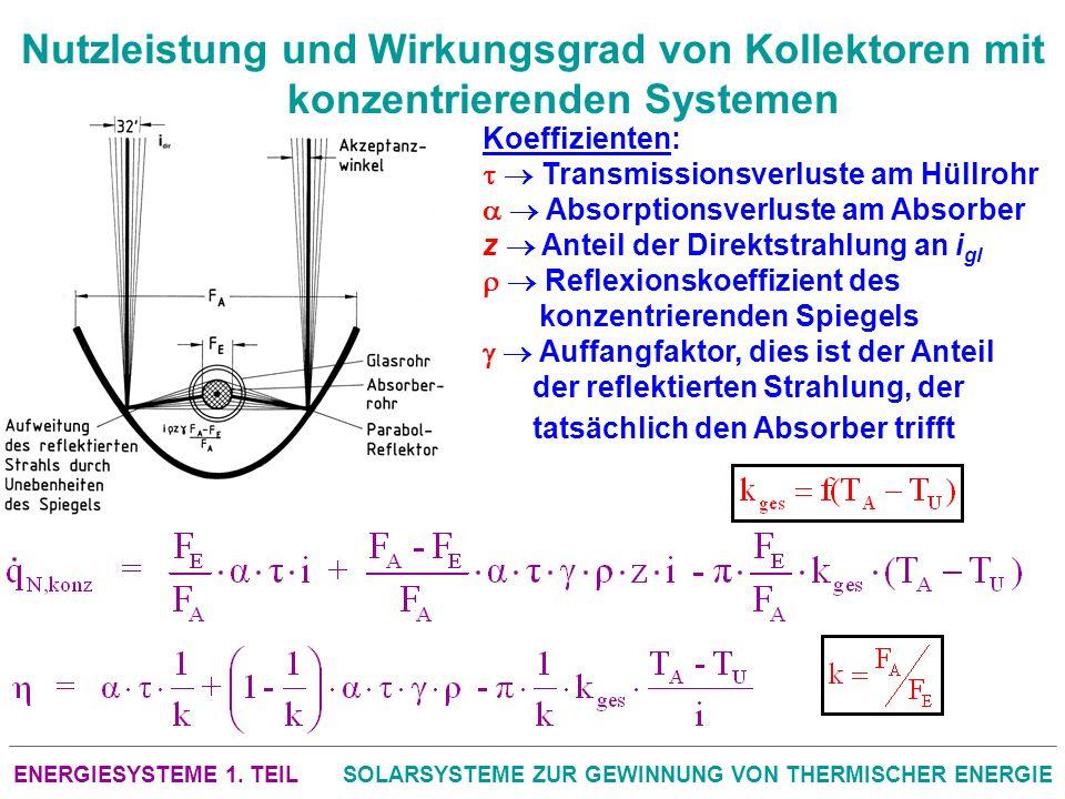 ENERGIESYSTEME 1. TEILSOLARSYSTEME ZUR GEWINNUNG VON THERMISCHER ENERGIE Nutzleistung und Wirkungsgrad von Kollektoren mit konzentrierenden Systemen K