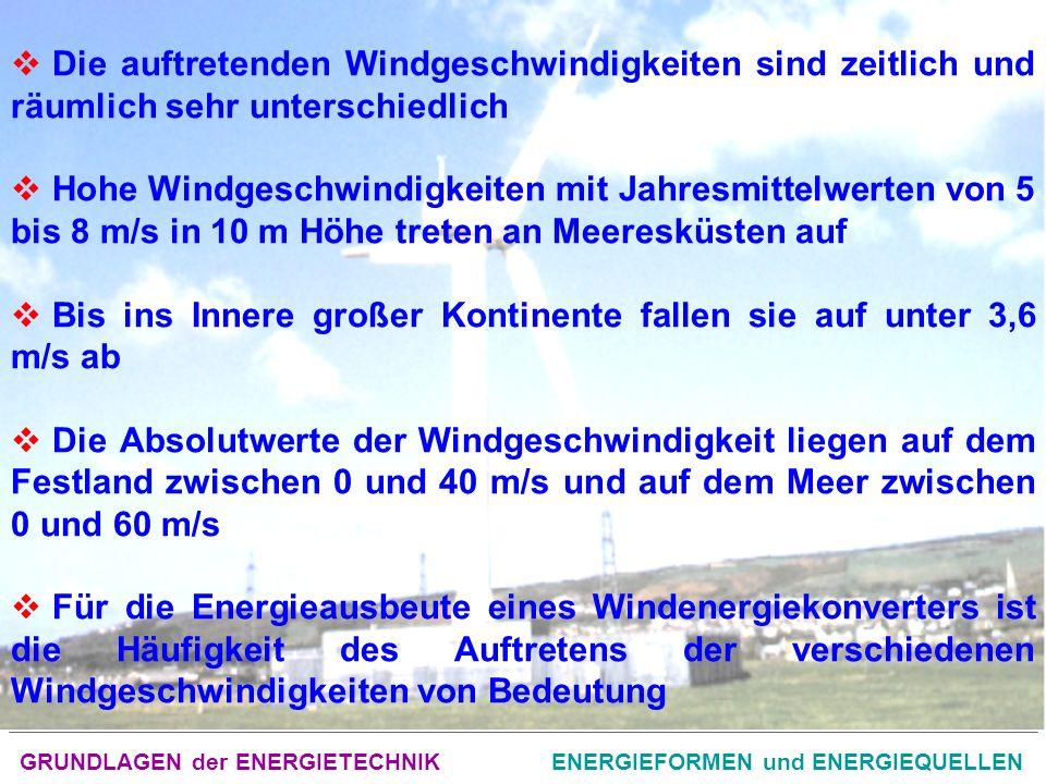 GRUNDLAGEN der ENERGIETECHNIKENERGIEFORMEN und ENERGIEQUELLEN Die auftretenden Windgeschwindigkeiten sind zeitlich und räumlich sehr unterschiedlich Hohe Windgeschwindigkeiten mit Jahresmittelwerten von 5 bis 8 m/s in 10 m Höhe treten an Meeresküsten auf Bis ins Innere großer Kontinente fallen sie auf unter 3,6 m/s ab Die Absolutwerte der Windgeschwindigkeit liegen auf dem Festland zwischen 0 und 40 m/s und auf dem Meer zwischen 0 und 60 m/s Für die Energieausbeute eines Windenergiekonverters ist die Häufigkeit des Auftretens der verschiedenen Windgeschwindigkeiten von Bedeutung