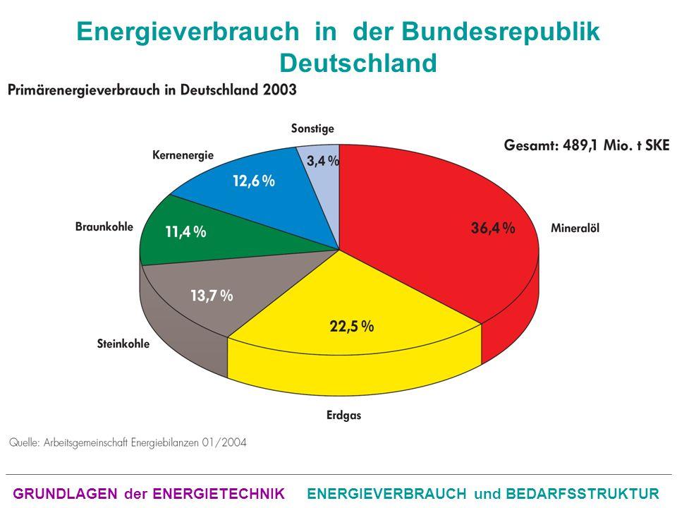 GRUNDLAGEN der ENERGIETECHNIKENERGIEVERBRAUCH und BEDARFSSTRUKTUR Energieverbrauch in der Bundesrepublik Deutschland