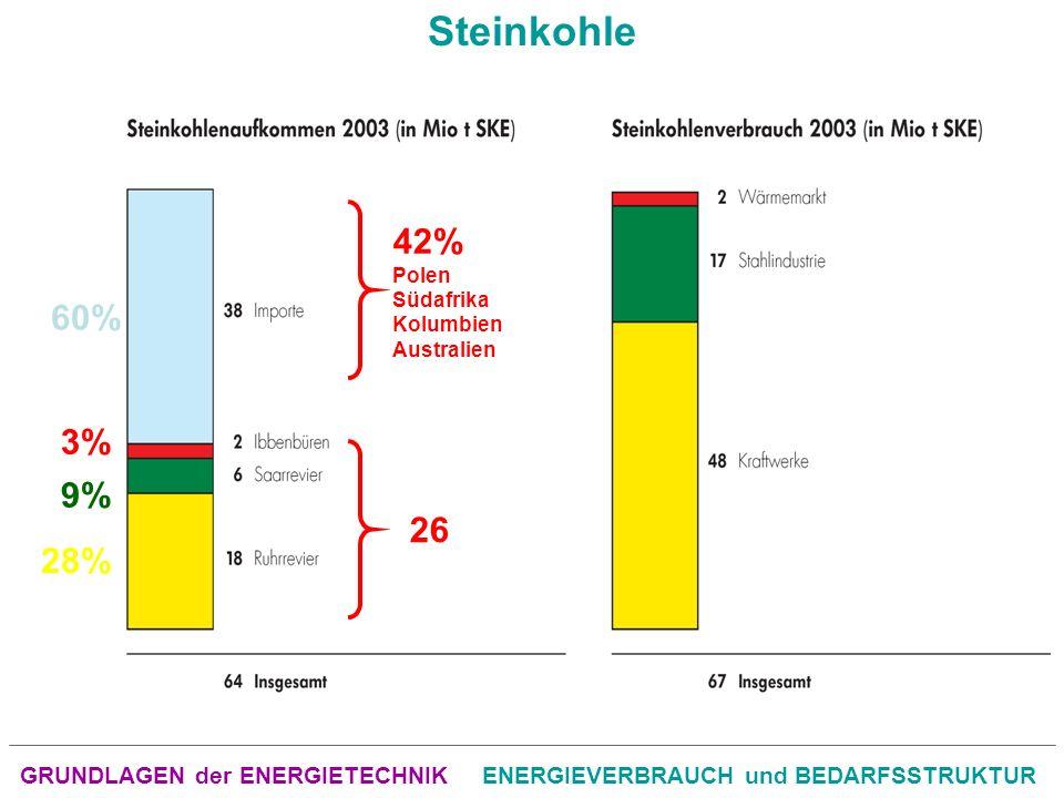 GRUNDLAGEN der ENERGIETECHNIKENERGIEVERBRAUCH und BEDARFSSTRUKTUR Steinkohle 26 3% 9% 28% 60% 42% Polen Südafrika Kolumbien Australien