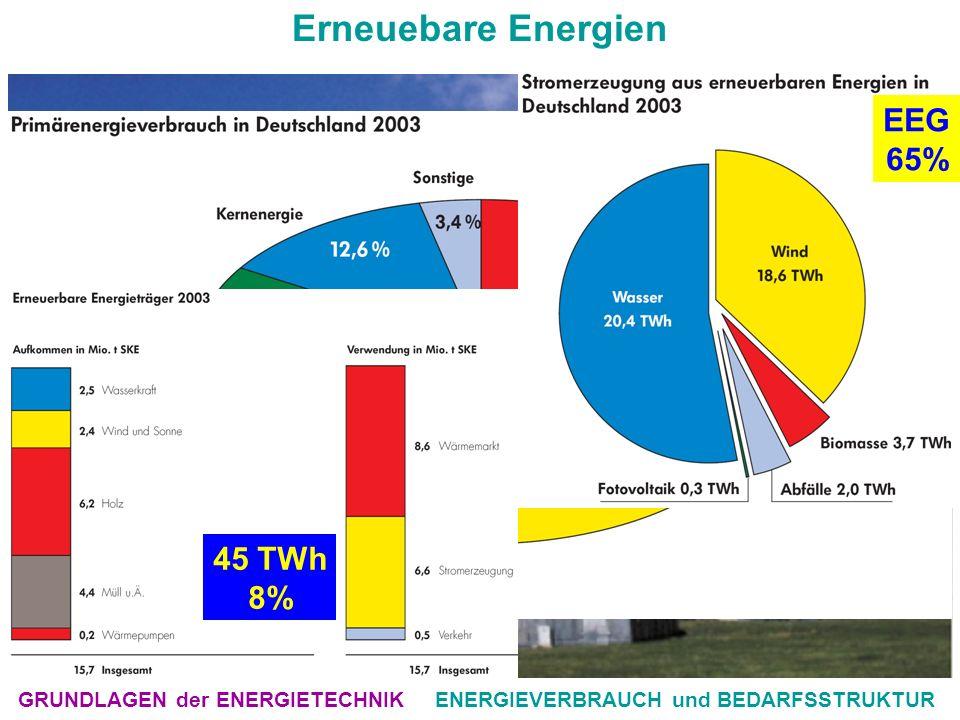 GRUNDLAGEN der ENERGIETECHNIKENERGIEVERBRAUCH und BEDARFSSTRUKTUR Erneuebare Energien EFD2004.pdf S45 von 56 45 TWh 8% EEG 65%