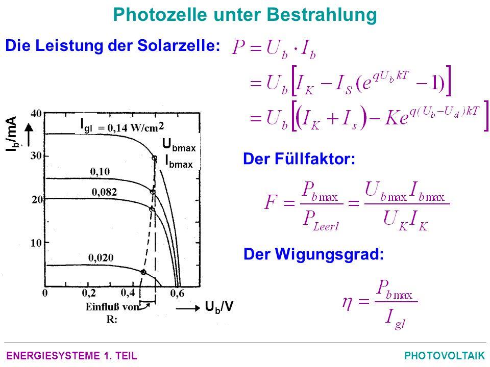 ENERGIESYSTEME 1. TEILPHOTOVOLTAIK Photozelle unter Bestrahlung Die Leistung der Solarzelle: Der Füllfaktor: Der Wigungsgrad: U bmax I bmax U b /V I b