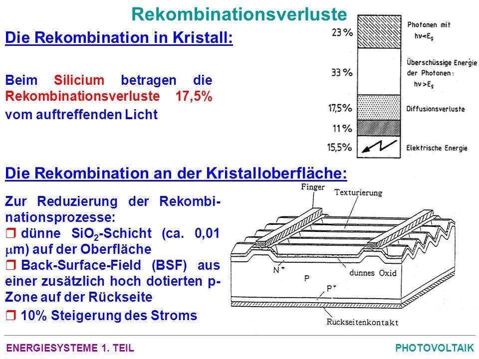ENERGIESYSTEME 1. TEILPHOTOVOLTAIK Rekombinationsverluste Die Rekombination in Kristall: Die Rekombination an der Kristalloberfläche: Beim Silicium be