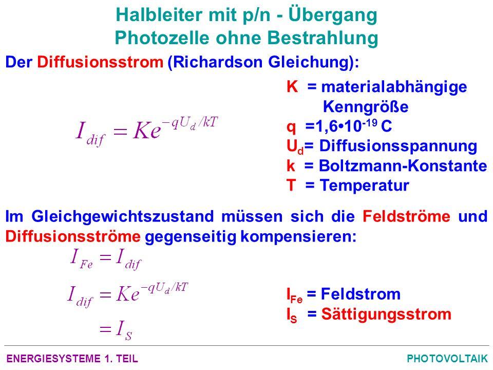 ENERGIESYSTEME 1. TEILPHOTOVOLTAIK Halbleiter mit p/n - Übergang Photozelle ohne Bestrahlung Der Diffusionsstrom (Richardson Gleichung): K = materiala