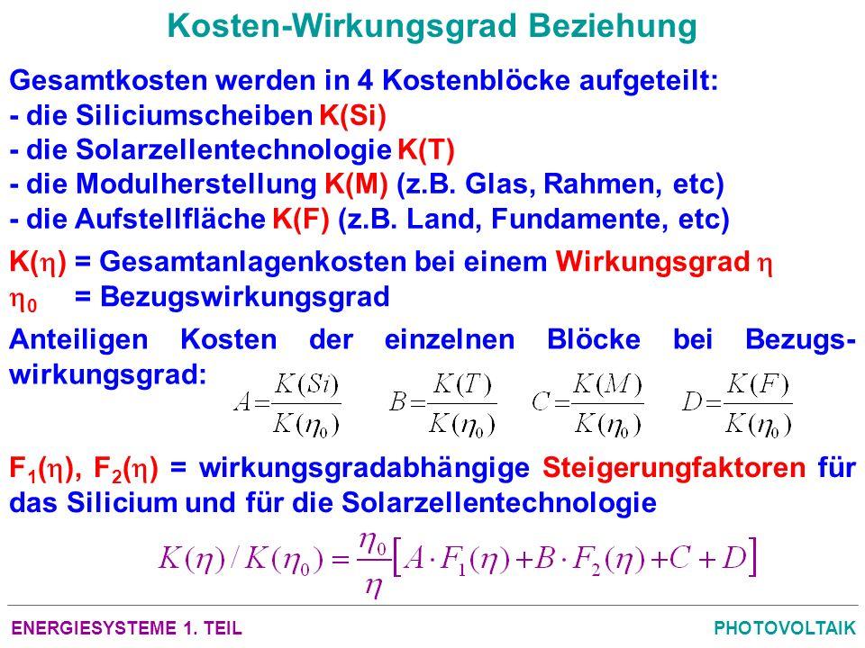 ENERGIESYSTEME 1. TEILPHOTOVOLTAIK Kosten-Wirkungsgrad Beziehung Gesamtkosten werden in 4 Kostenblöcke aufgeteilt: - die Siliciumscheiben K(Si) - die