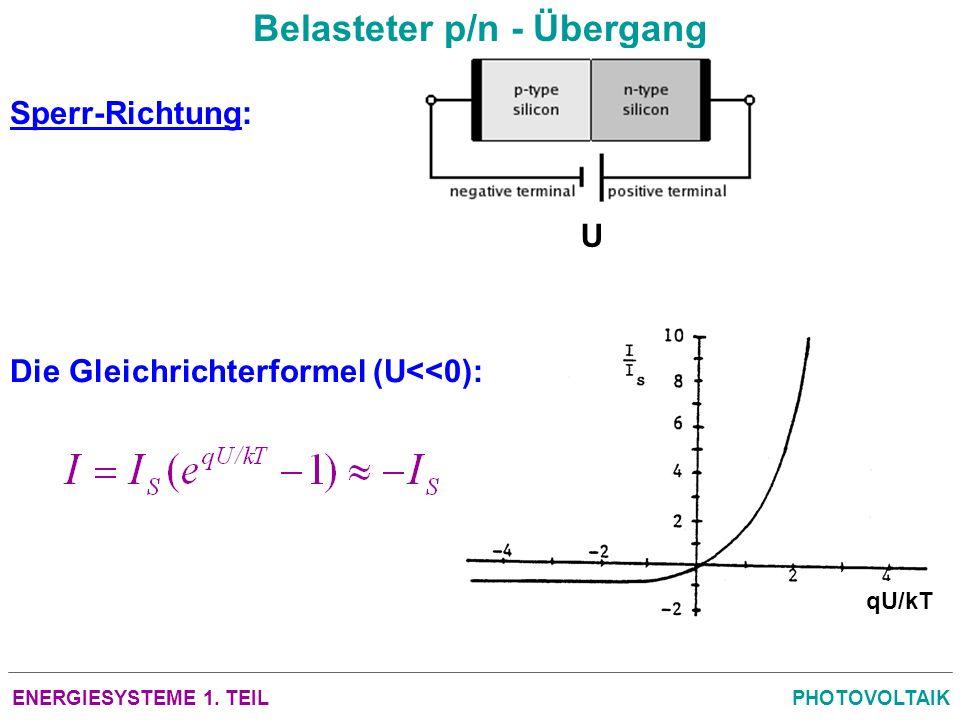 ENERGIESYSTEME 1. TEILPHOTOVOLTAIK Belasteter p/n - Übergang Sperr-Richtung: U Die Gleichrichterformel (U<<0): qU/kT