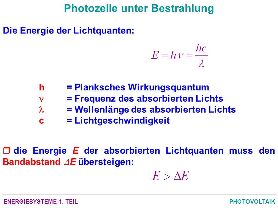 ENERGIESYSTEME 1. TEILPHOTOVOLTAIK Photozelle unter Bestrahlung Die Energie der Lichtquanten: h= Planksches Wirkungsquantum = Frequenz des absorbierte