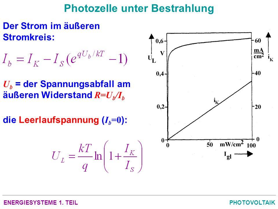 ENERGIESYSTEME 1. TEILPHOTOVOLTAIK Photozelle unter Bestrahlung die Leerlaufspannung ( I b =0 ): U b = der Spannungsabfall am äußeren Widerstand R=U b