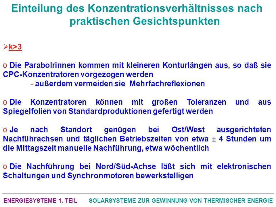 ENERGIESYSTEME 1. TEILSOLARSYSTEME ZUR GEWINNUNG VON THERMISCHER ENERGIE Einteilung des Konzentrationsverhältnisses nach praktischen Gesichtspunkten k