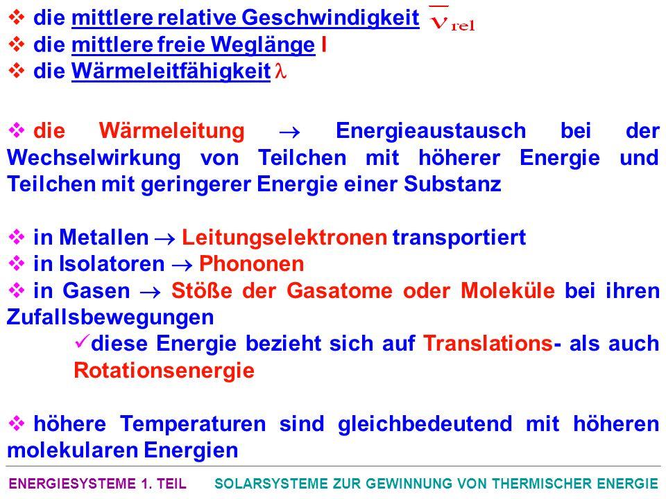 ENERGIESYSTEME 1. TEILSOLARSYSTEME ZUR GEWINNUNG VON THERMISCHER ENERGIE die mittlere relative Geschwindigkeit die mittlere freie Weglänge l die Wärme