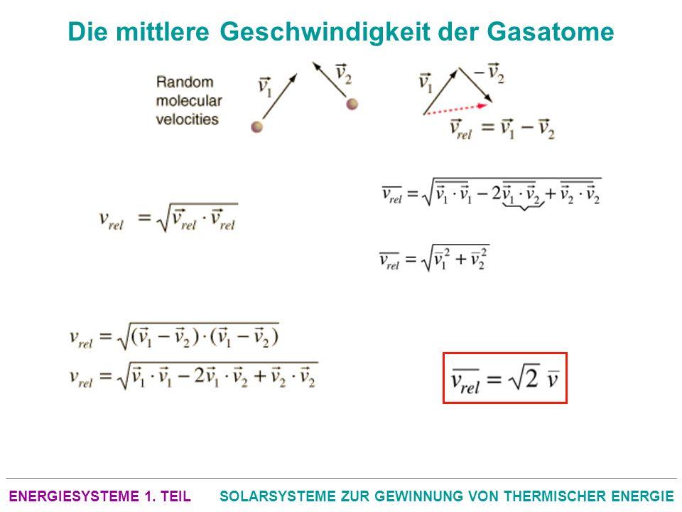 ENERGIESYSTEME 1. TEILSOLARSYSTEME ZUR GEWINNUNG VON THERMISCHER ENERGIE Die mittlere Geschwindigkeit der Gasatome