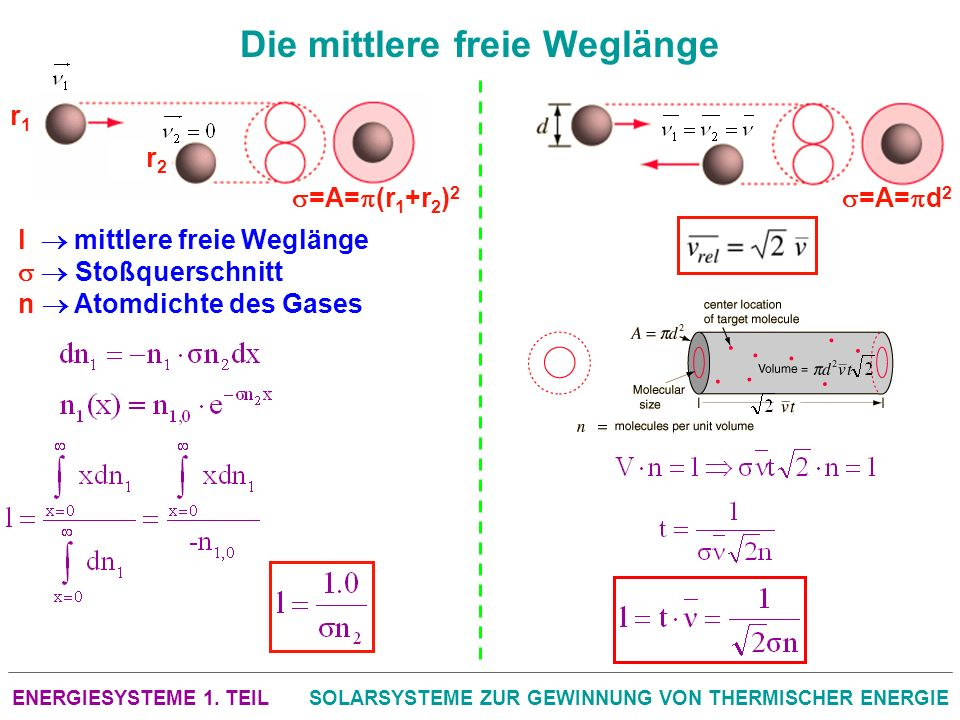 ENERGIESYSTEME 1. TEILSOLARSYSTEME ZUR GEWINNUNG VON THERMISCHER ENERGIE Die mittlere freie Weglänge r1r1 =A= d 2 r2r2 =A= (r 1 +r 2 ) 2 l mittlere fr