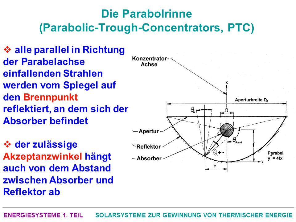 ENERGIESYSTEME 1. TEILSOLARSYSTEME ZUR GEWINNUNG VON THERMISCHER ENERGIE Die Parabolrinne (Parabolic-Trough-Concentrators, PTC) alle parallel in Richt