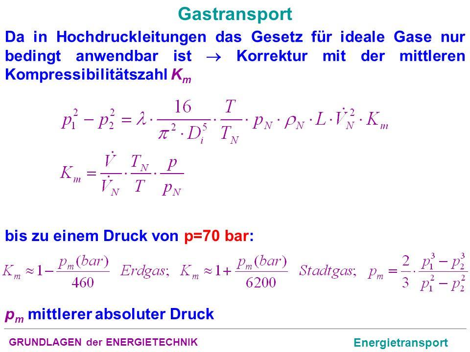 GRUNDLAGEN der ENERGIETECHNIK Energietransport Gastransport Da in Hochdruckleitungen das Gesetz für ideale Gase nur bedingt anwendbar ist Korrektur mi