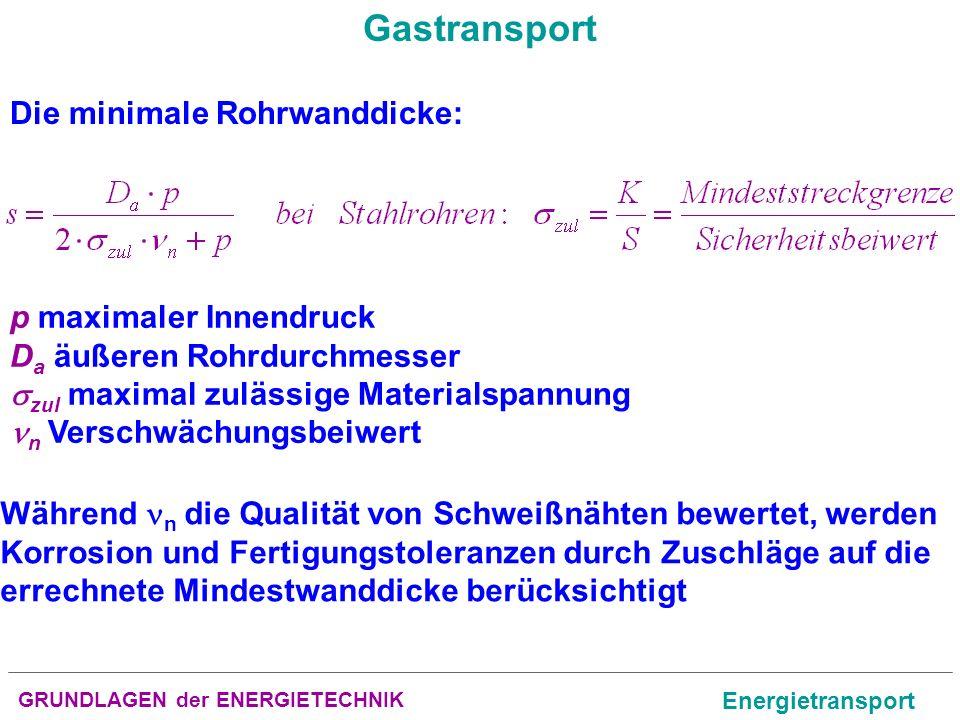 GRUNDLAGEN der ENERGIETECHNIK Energietransport Gastransport Die minimale Rohrwanddicke: Während n die Qualität von Schweißnähten bewertet, werden Korr