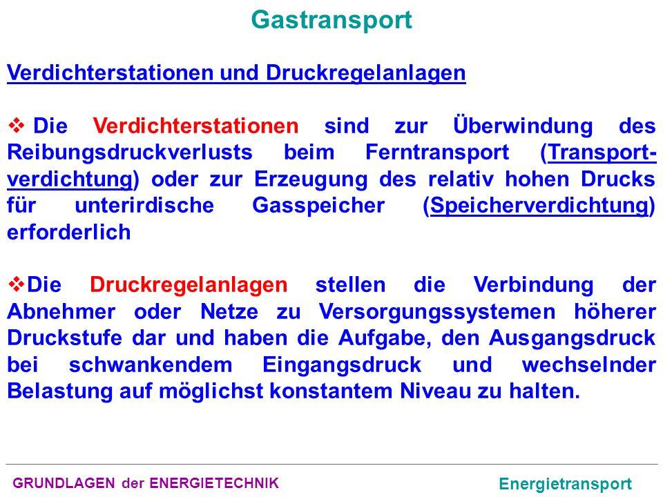 GRUNDLAGEN der ENERGIETECHNIK Energietransport Gastransport Verdichterstationen und Druckregelanlagen Die Verdichterstationen sind zur Überwindung des