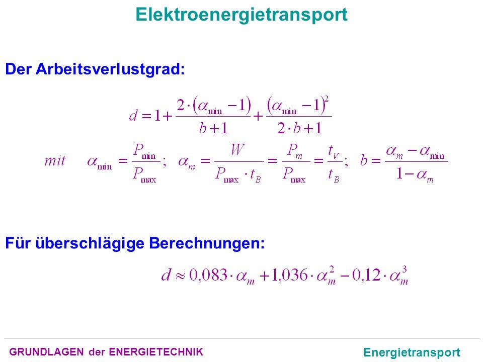 GRUNDLAGEN der ENERGIETECHNIK Energietransport Elektroenergietransport Der Arbeitsverlustgrad: Für überschlägige Berechnungen: