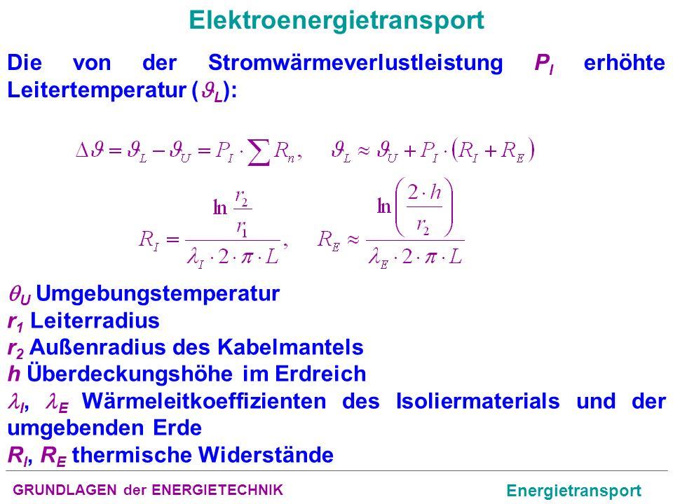 GRUNDLAGEN der ENERGIETECHNIK Energietransport Elektroenergietransport Die von der Stromwärmeverlustleistung P I erhöhte Leitertemperatur ( L ): U Umg
