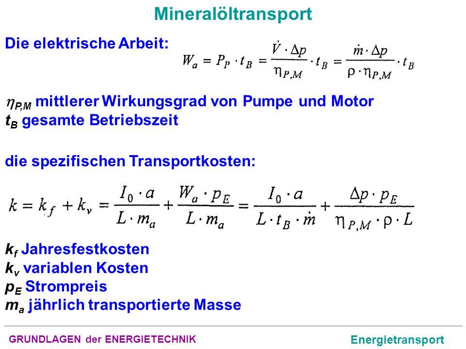 GRUNDLAGEN der ENERGIETECHNIK Energietransport Mineralöltransport Die elektrische Arbeit: P,M mittlerer Wirkungsgrad von Pumpe und Motor t B gesamte B
