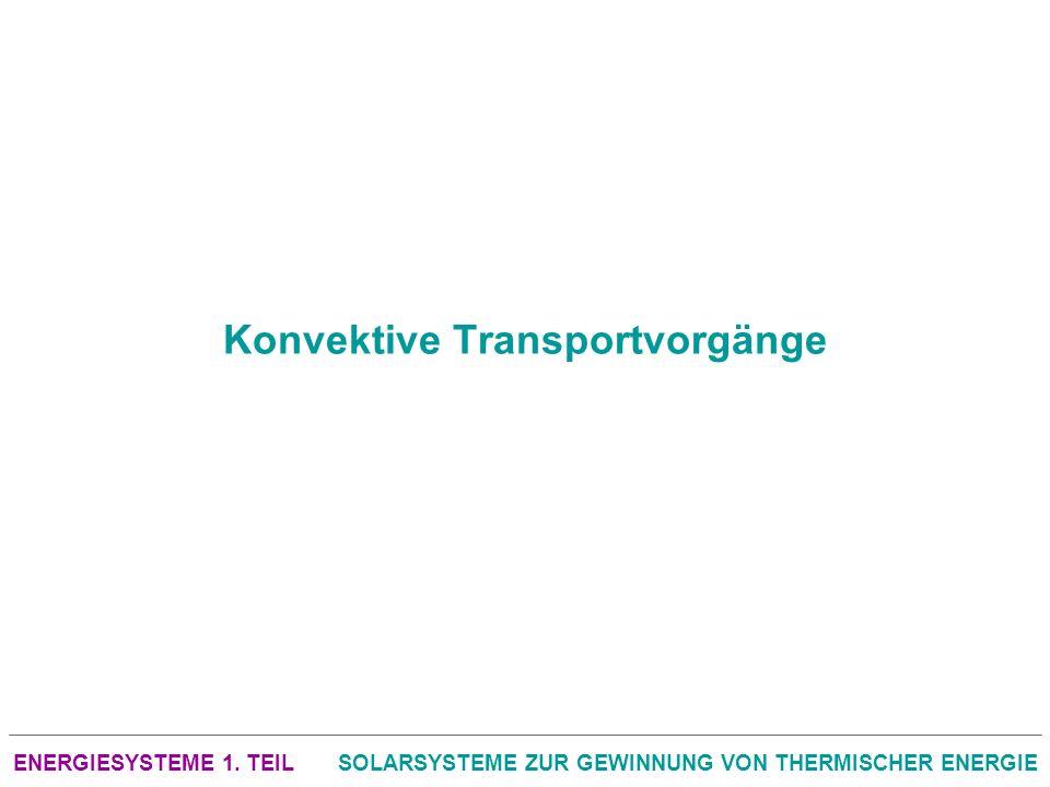 ENERGIESYSTEME 1. TEILSOLARSYSTEME ZUR GEWINNUNG VON THERMISCHER ENERGIE Konvektive Transportvorgänge