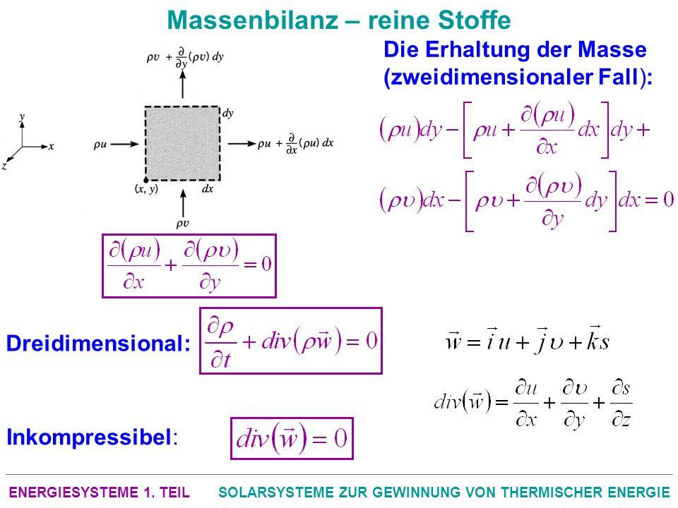 ENERGIESYSTEME 1. TEILSOLARSYSTEME ZUR GEWINNUNG VON THERMISCHER ENERGIE Massenbilanz – reine Stoffe Die Erhaltung der Masse (zweidimensionaler Fall):