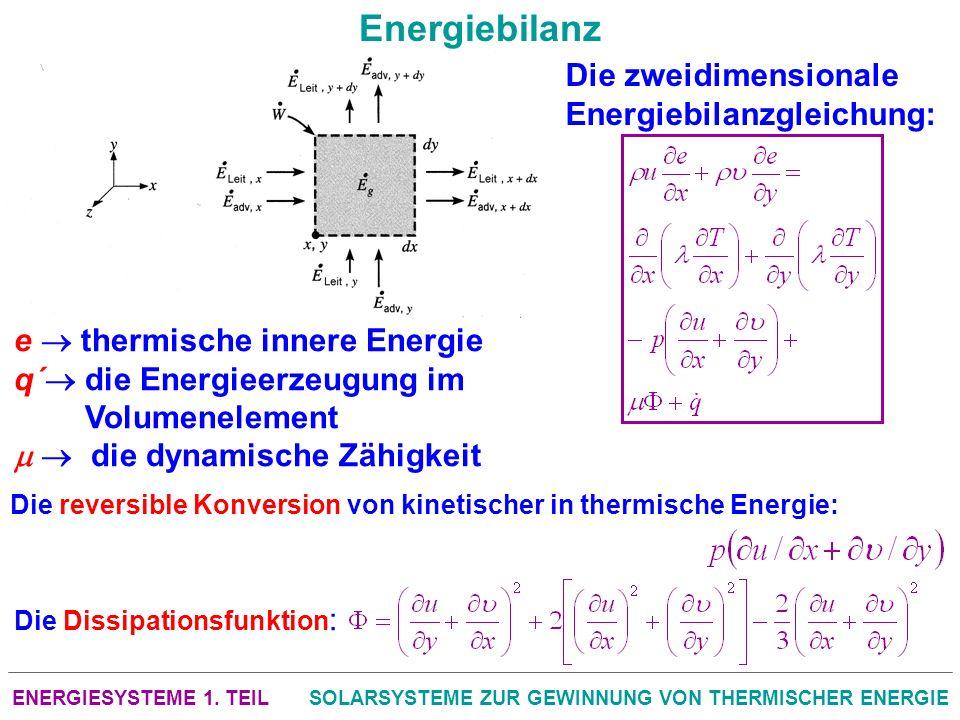 ENERGIESYSTEME 1. TEILSOLARSYSTEME ZUR GEWINNUNG VON THERMISCHER ENERGIE Energiebilanz Die zweidimensionale Energiebilanzgleichung: e thermische inner