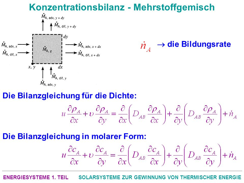 ENERGIESYSTEME 1. TEILSOLARSYSTEME ZUR GEWINNUNG VON THERMISCHER ENERGIE Konzentrationsbilanz - Mehrstoffgemisch Die Bilanzgleichung für die Dichte: D