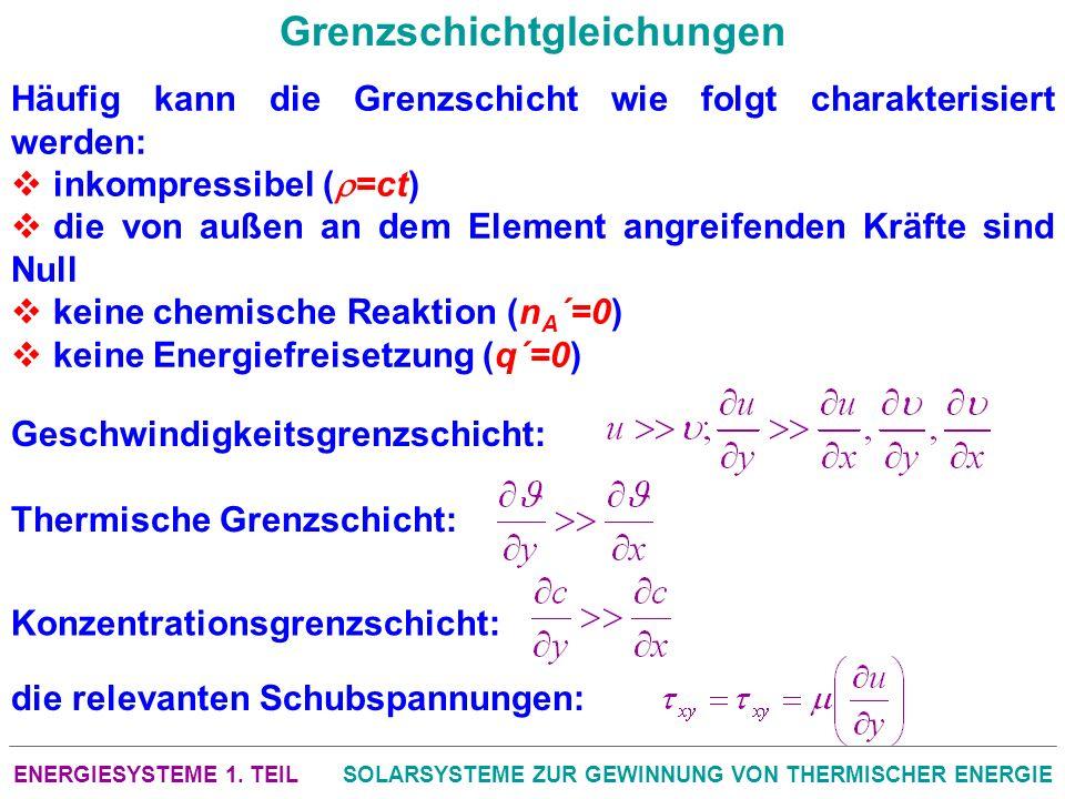 ENERGIESYSTEME 1. TEILSOLARSYSTEME ZUR GEWINNUNG VON THERMISCHER ENERGIE Grenzschichtgleichungen Häufig kann die Grenzschicht wie folgt charakterisier