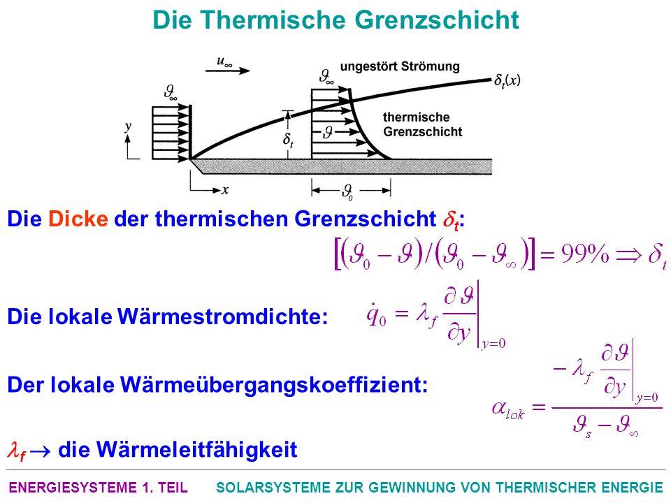 ENERGIESYSTEME 1. TEILSOLARSYSTEME ZUR GEWINNUNG VON THERMISCHER ENERGIE Die Thermische Grenzschicht Die Dicke der thermischen Grenzschicht t : Die lo