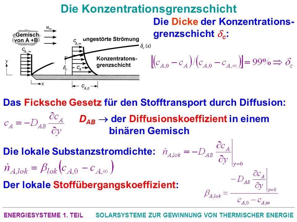 ENERGIESYSTEME 1. TEILSOLARSYSTEME ZUR GEWINNUNG VON THERMISCHER ENERGIE Die Konzentrationsgrenzschicht Die Dicke der Konzentrations- grenzschicht c :