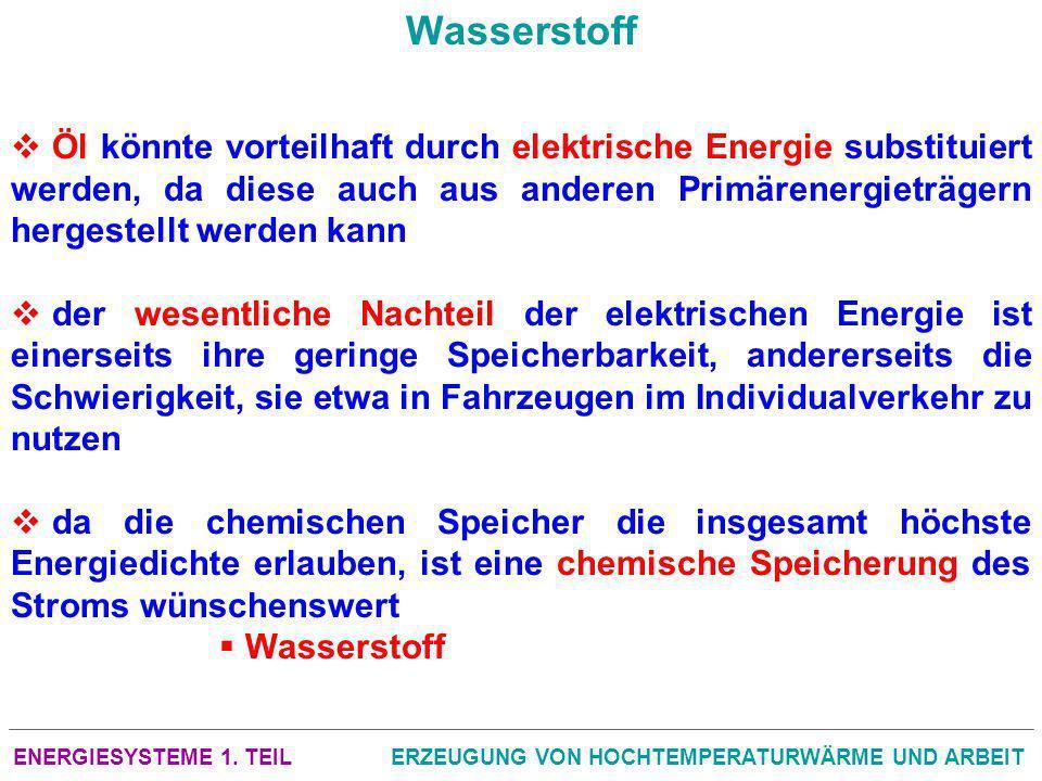ENERGIESYSTEME 1. TEILERZEUGUNG VON HOCHTEMPERATURWÄRME UND ARBEIT Wasserstoff Öl könnte vorteilhaft durch elektrische Energie substituiert werden, da