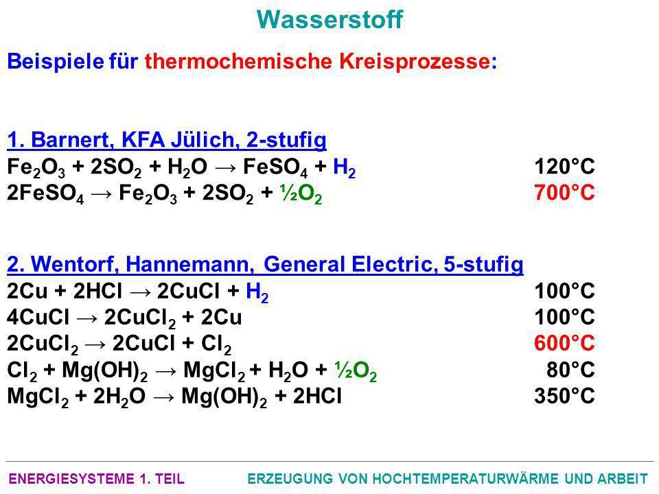ENERGIESYSTEME 1. TEILERZEUGUNG VON HOCHTEMPERATURWÄRME UND ARBEIT Wasserstoff Beispiele für thermochemische Kreisprozesse: 1. Barnert, KFA Jülich, 2