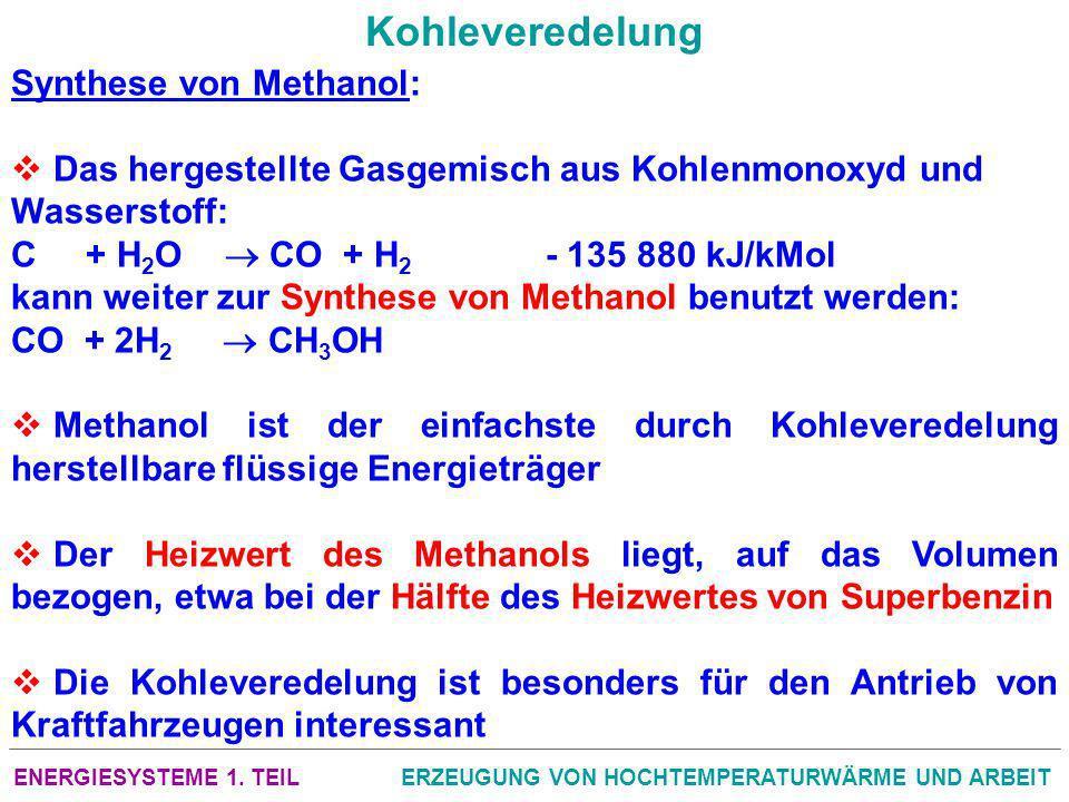 ENERGIESYSTEME 1. TEILERZEUGUNG VON HOCHTEMPERATURWÄRME UND ARBEIT Kohleveredelung Synthese von Methanol: Das hergestellte Gasgemisch aus Kohlenmonoxy