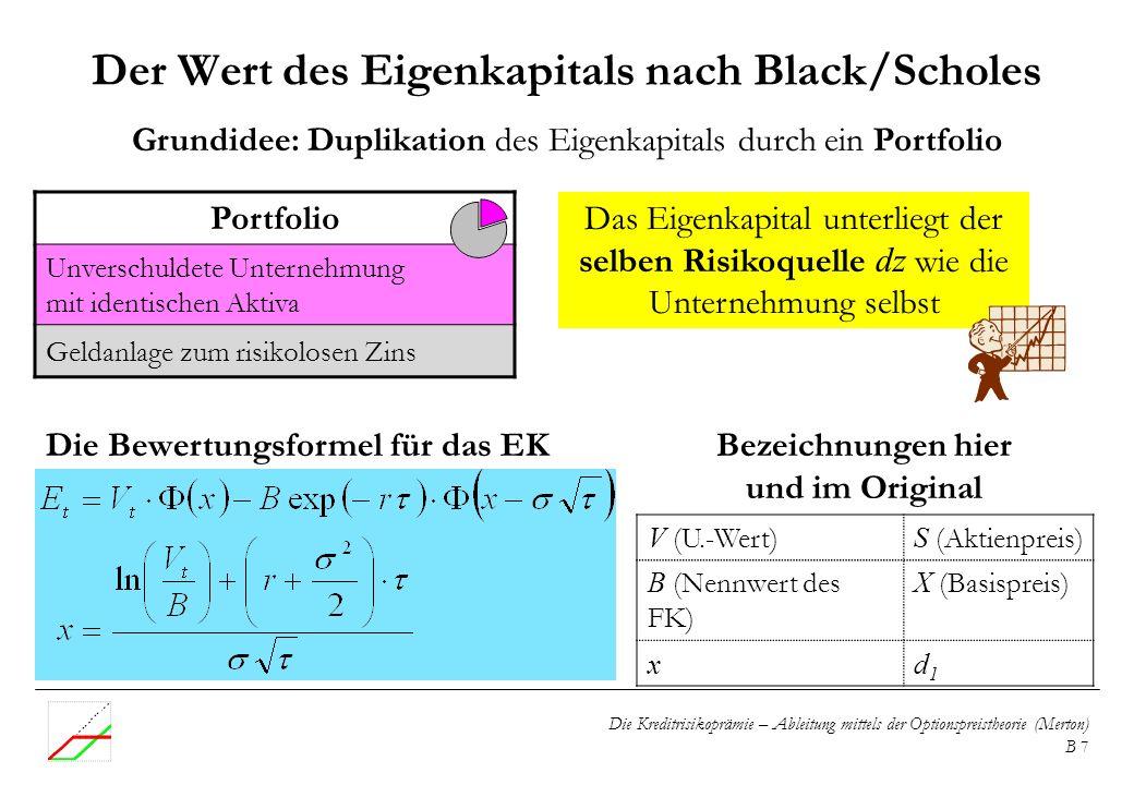 Die Kreditrisikoprämie – Ableitung mittels der Optionspreistheorie (Merton) B 7 Der Wert des Eigenkapitals nach Black/Scholes V (U.-Wert) S (Aktienpre