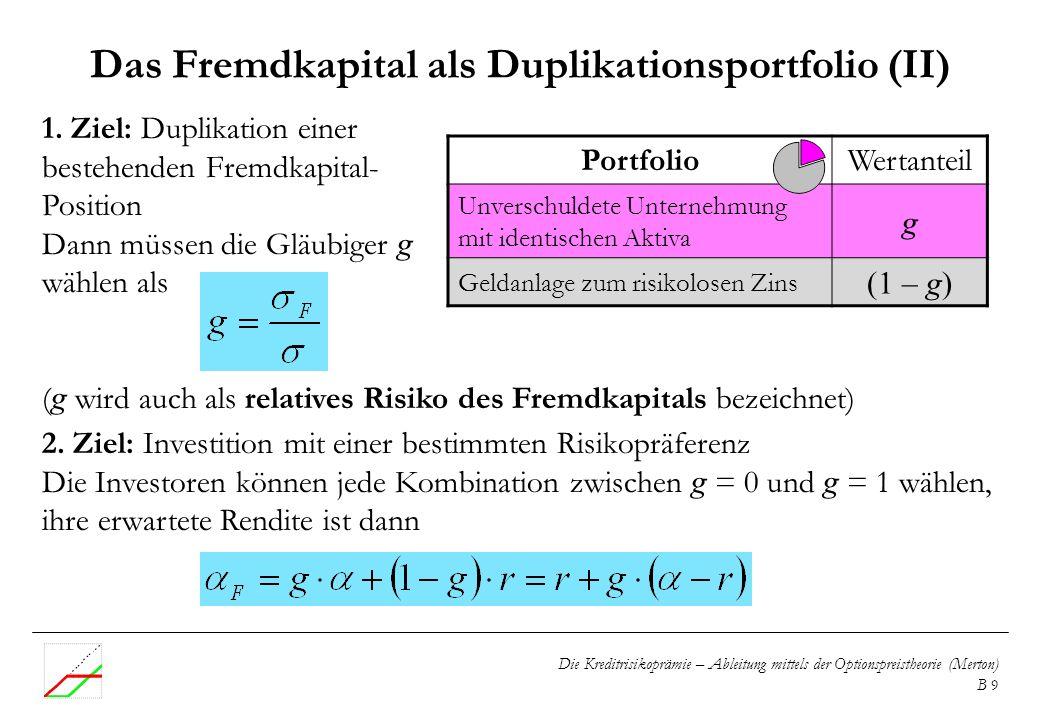 Die Kreditrisikoprämie – Ableitung mittels der Optionspreistheorie (Merton) B 9 1. Ziel: Duplikation einer bestehenden Fremdkapital- Position Dann müs