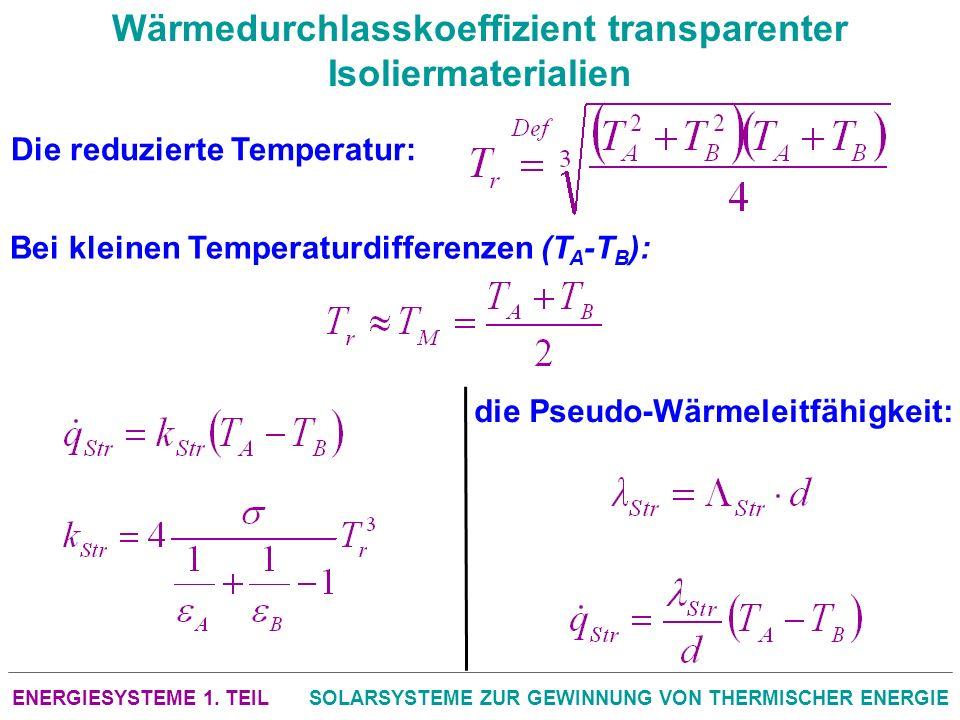 ENERGIESYSTEME 1. TEILSOLARSYSTEME ZUR GEWINNUNG VON THERMISCHER ENERGIE Wärmedurchlasskoeffizient transparenter Isoliermaterialien Die reduzierte Tem