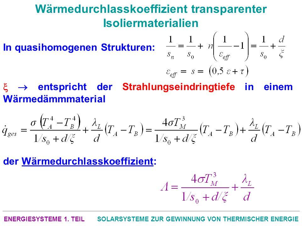 ENERGIESYSTEME 1. TEILSOLARSYSTEME ZUR GEWINNUNG VON THERMISCHER ENERGIE Wärmedurchlasskoeffizient transparenter Isoliermaterialien In quasihomogenen
